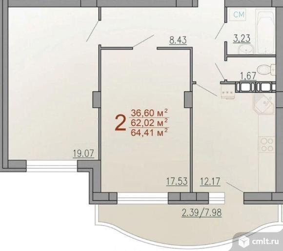 2-комнатная квартира 64,41 кв.м. Фото 3.