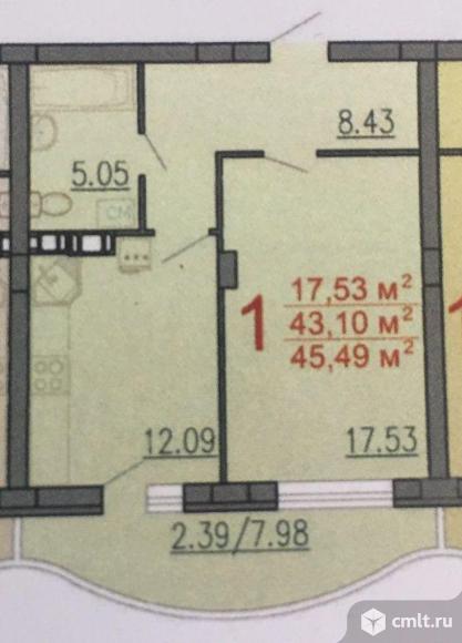 1-комнатная квартира 45,49 кв.м. Фото 3.