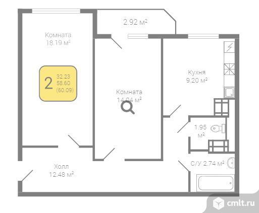 2-комнатная квартира 60 кв.м. Фото 2.