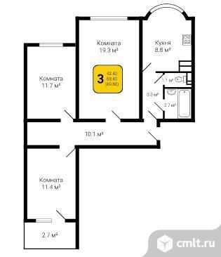 1-комнатная квартира 69 кв.м. Фото 4.