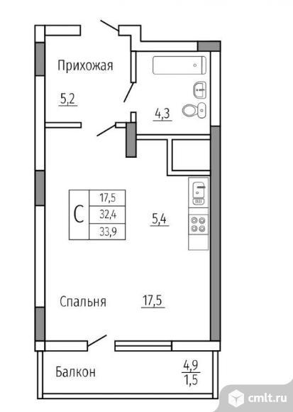 1-комнатная квартира 33,9 кв.м. Фото 2.