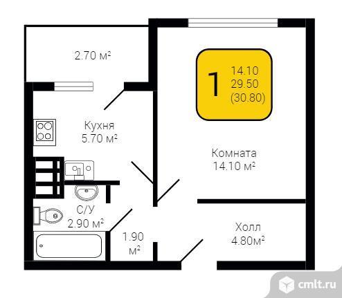 1-комнатная квартира 30,8 кв.м. Фото 6.