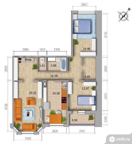 3-комнатная квартира 90 кв.м. Фото 4.
