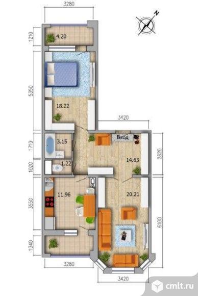 2-комнатная квартира 74 кв.м. Фото 4.