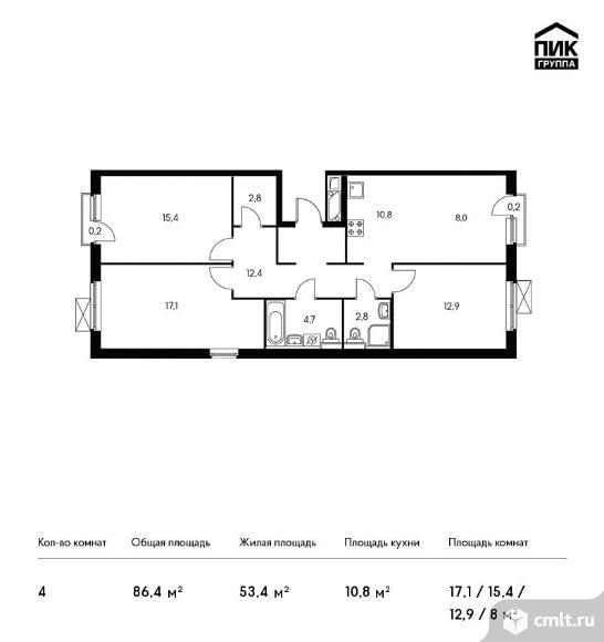 4-комнатная квартира 86,4 кв.м. Фото 1.