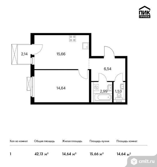 1-комнатная квартира 42,13 кв.м. Фото 1.
