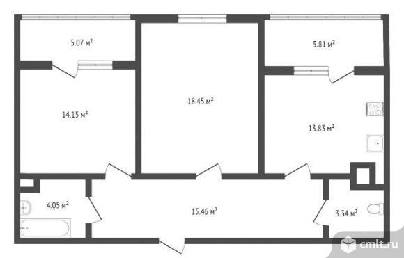 2-комнатная квартира 74,3 кв.м. Фото 1.
