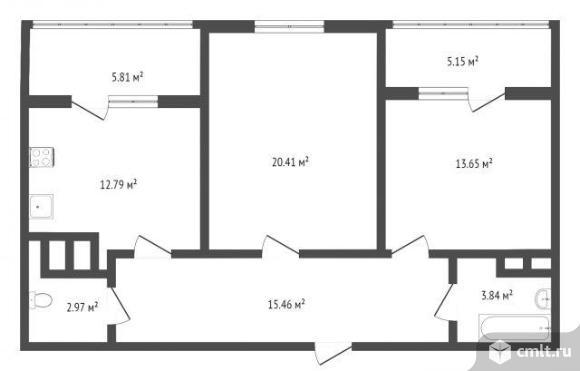 2-комнатная квартира 74,3 кв.м. Фото 3.