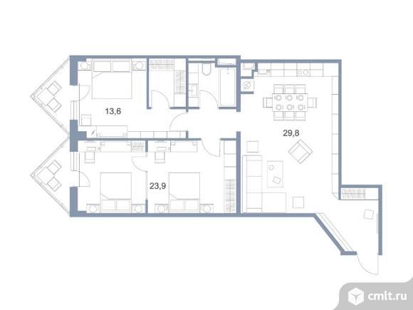 3-комнатная квартира 91,6 кв.м. Фото 1.