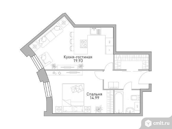 1-комнатная квартира 47,67 кв.м. Фото 1.