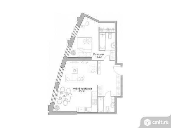 2-комнатная квартира 61,83 кв.м. Фото 1.