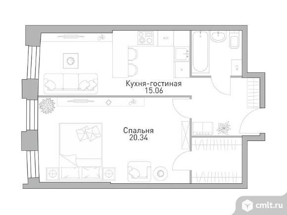 1-комнатная квартира 49,9 кв.м. Фото 1.