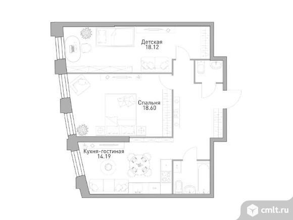 2-комнатная квартира 69,62 кв.м. Фото 1.