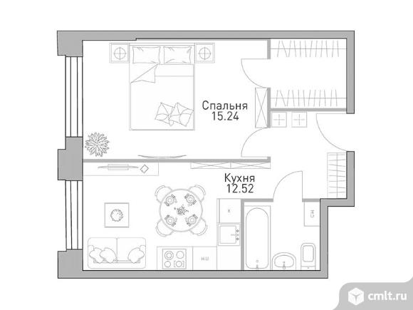 1-комнатная квартира 40,46 кв.м. Фото 1.