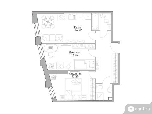 2-комнатная квартира 63,98 кв.м. Фото 1.