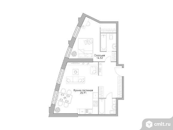 2-комнатная квартира 61,61 кв.м. Фото 1.