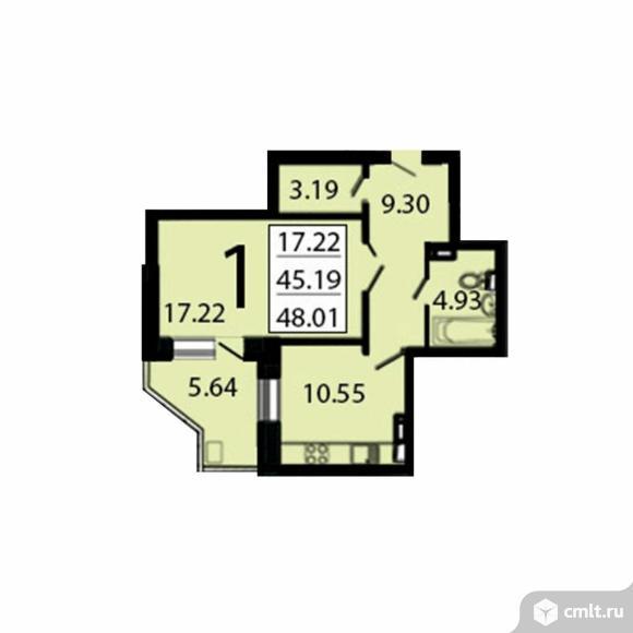 1-комнатная квартира 47,53 кв.м. Фото 1.