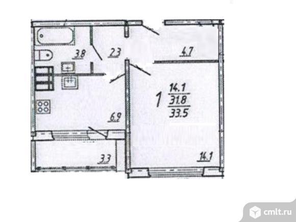 1-комнатная квартира 33,5 кв.м. Фото 1.