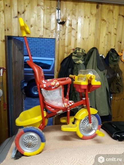 Детский велосипед трехколёсный с ручкой. Фото 1.