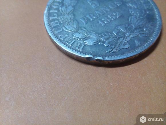 Франция 5 франков, 1852. Серебро. Фото 6.