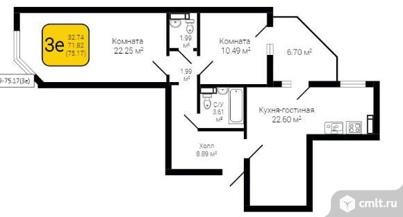 3-комнатная квартира 75 кв.м. Фото 2.