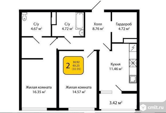 2-комнатная квартира 66,99 кв.м. Фото 4.
