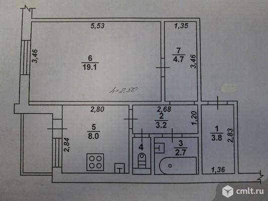 1-комнатная квартира 42,6 кв.м. Фото 11.