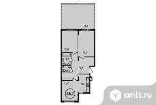 3-комнатная квартира 88,7 кв.м. Фото 1.