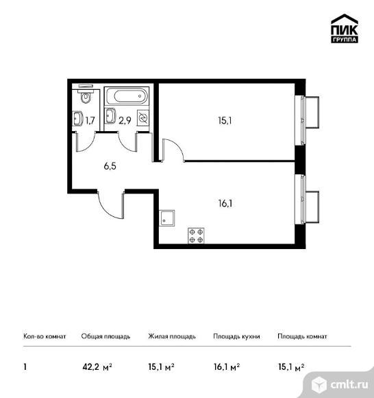 2-комнатная квартира 42,2 кв.м. Фото 1.