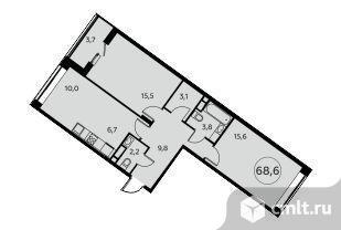 3-комнатная квартира 68,6 кв.м. Фото 1.