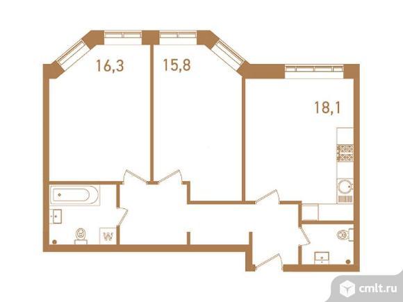 3-комнатная квартира 73,8 кв.м. Фото 1.