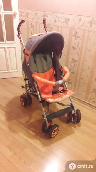Коляска летняя детская, цв. серый с оранжевым. Фото 1.