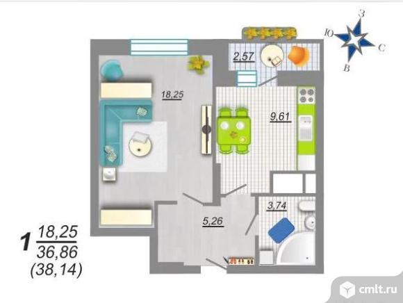 1-комнатная квартира 38,14 кв.м. Фото 1.
