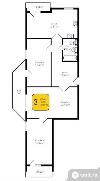 3-комнатная квартира 100,16 кв.м. Фото 2.