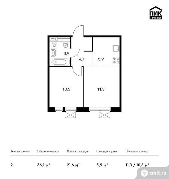 2-комнатная квартира 36,1 кв.м. Фото 1.