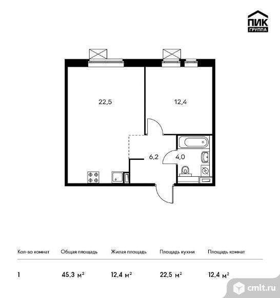 1-комнатная квартира 45,3 кв.м. Фото 1.