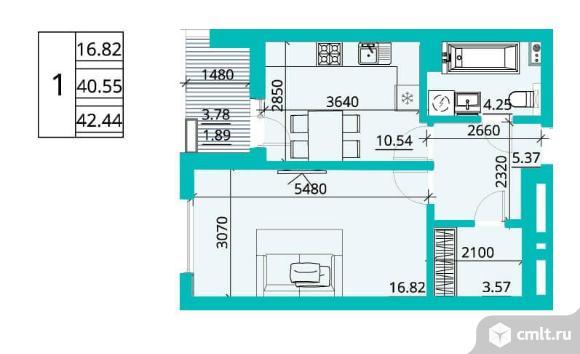 1-комнатная квартира 42,36 кв.м. Фото 1.