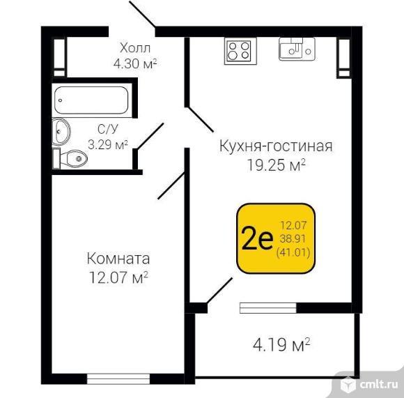 2-комнатная квартира 41,01 кв.м. Фото 2.