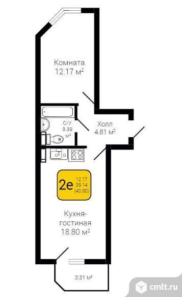 2-комнатная квартира 40,8 кв.м. Фото 2.