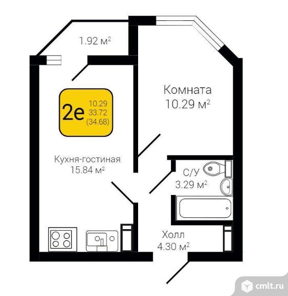 2-комнатная квартира 34,68 кв.м. Фото 2.