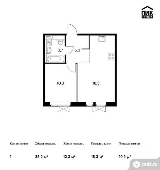 1-комнатная квартира 38,2 кв.м. Фото 1.