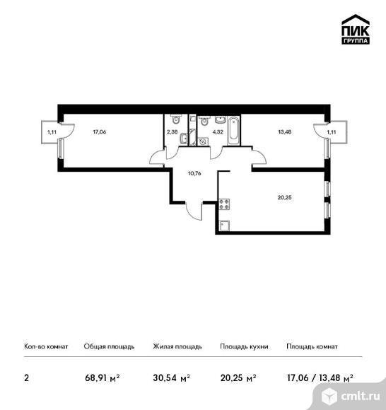 2-комнатная квартира 68,91 кв.м. Фото 1.