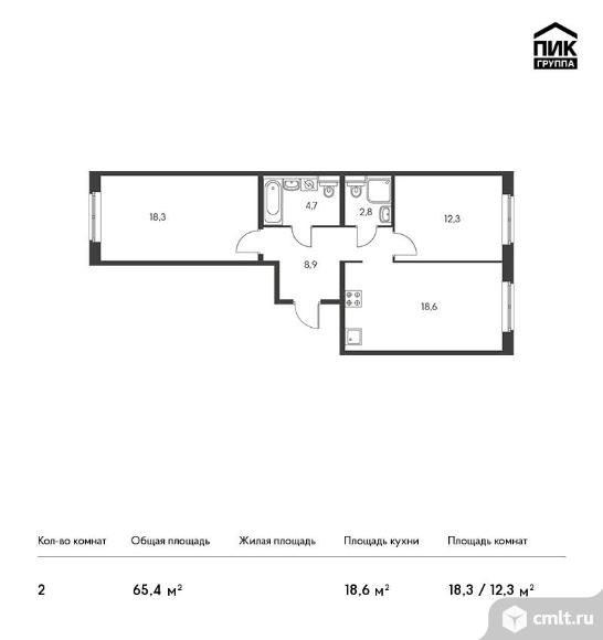 2-комнатная квартира 65,4 кв.м. Фото 1.
