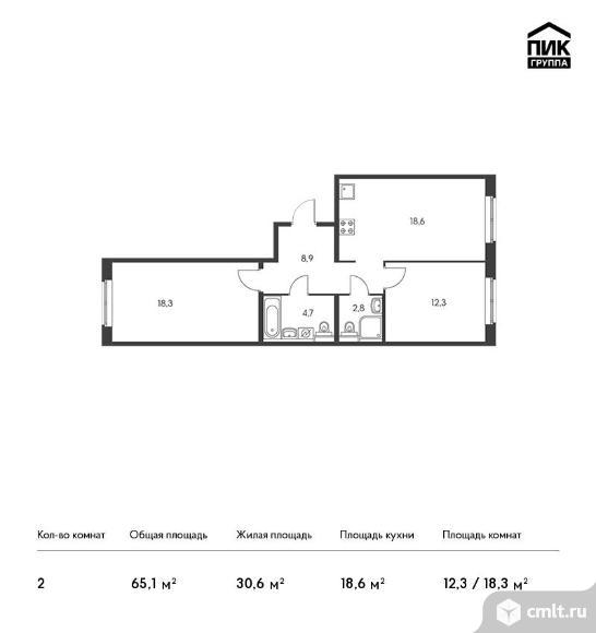 2-комнатная квартира 65,1 кв.м. Фото 1.