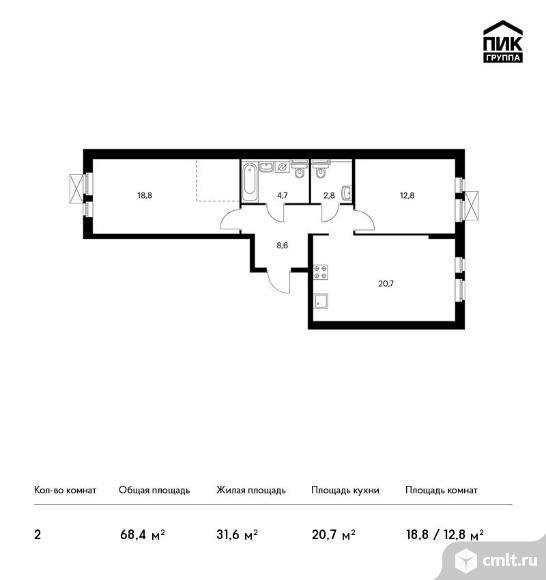 2-комнатная квартира 68,4 кв.м. Фото 1.
