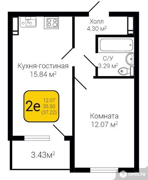 2-комнатная квартира 37,27 кв.м. Фото 7.