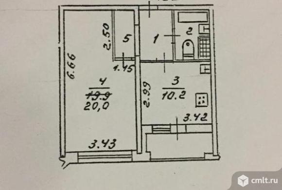 1-комнатная квартира 39,9 кв.м. Фото 12.