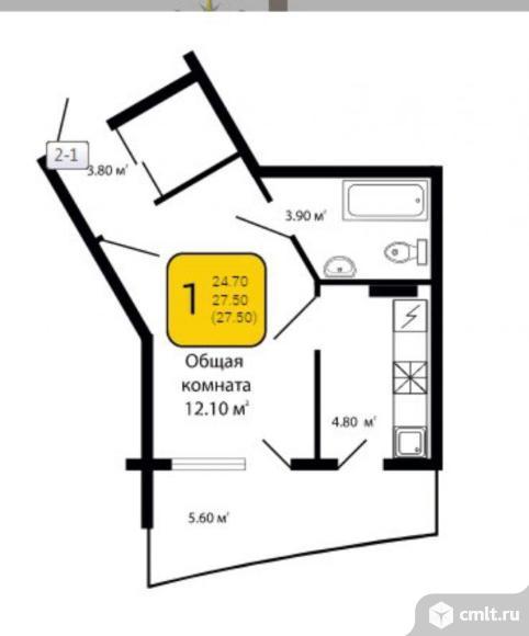 1-комнатная квартира 27,5 кв.м. Фото 4.