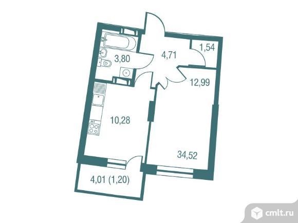1-комнатная квартира 34,53 кв.м. Фото 1.