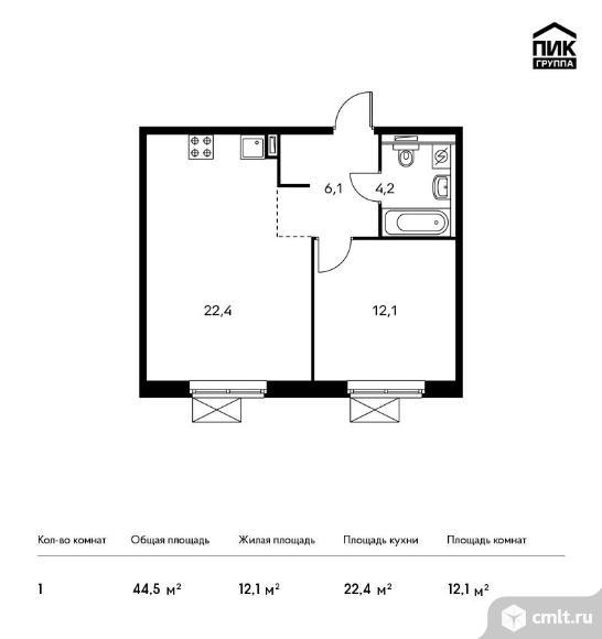1-комнатная квартира 44,5 кв.м. Фото 1.